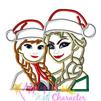 Frozen Elsa and Anna Christmas Applique Design