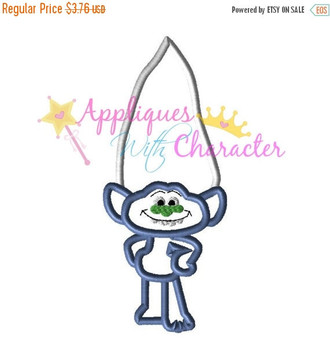 Troll Movie Blue Guy Diamond Applique Embroidery Machine Design