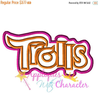 Troll Movie Logo Applique Embroidery Machine Design