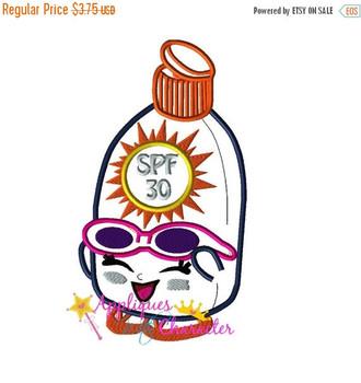 Shopkins Sunscreen Beach Applique Embroidery Machine Design