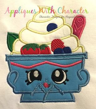 Shopikins Yochi Yogurt Applique  Design