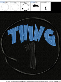 Thing 1 Circle Applique Design