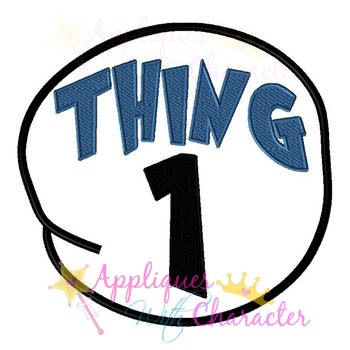 Thing 1 Circle Applique Design