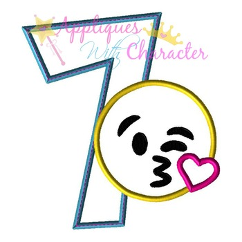 Emoji Kiss SEVEN Applique Embroidery Machine Design
