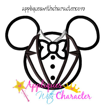 Mr Mouse Groom Head Applique Design