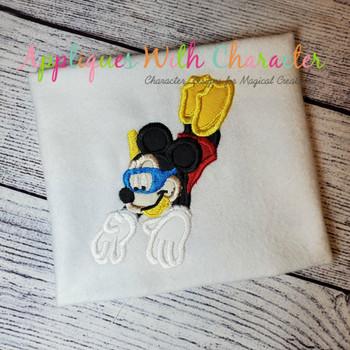 Scuba Snorkel Mr Mouse Applique Design
