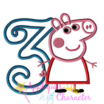 Pepper Pig Curly THREE Applique Design