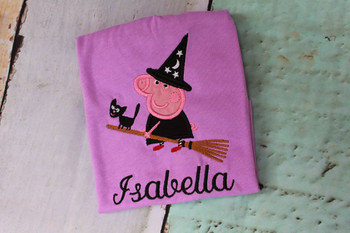 Pepper Pig Witch Applique Design