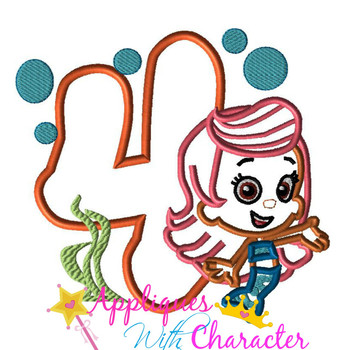 Bubble Girl FOUR Applique Design