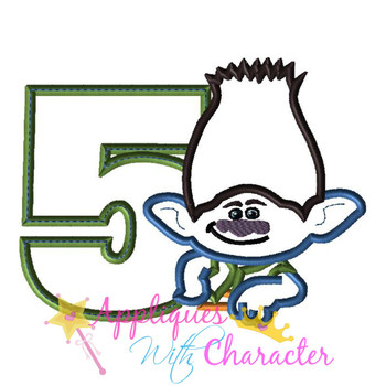 Boy Troll Five Applique Design