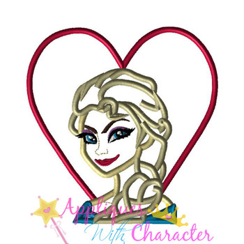 Frozen Elsa Heart Applique Design