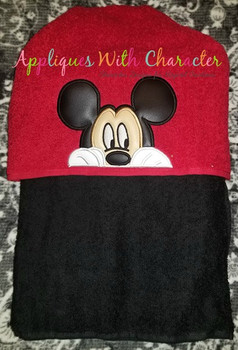 Mr Mouse Peeking Face Applique Design