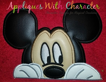 Mr Mouse Peeking Face Applique Design