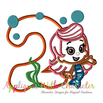 Bubble Guppies TWO Mollie Applique Design