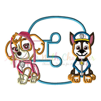 Paw Sky Chase Patrol Three Applique Design