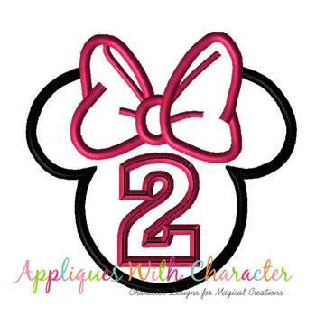 Miss Mouse Head Two Applique Design