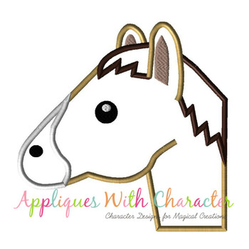 Horse Emoji Applique Design