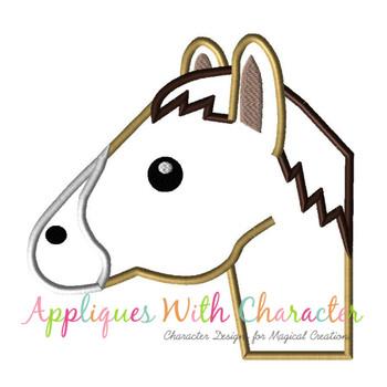 Horse Emoji Applique Design