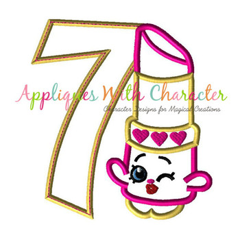 Shopkin Lippy SEVEN Applique Design
