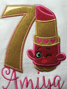 Shopikin Lippy SEVEN Applique Design