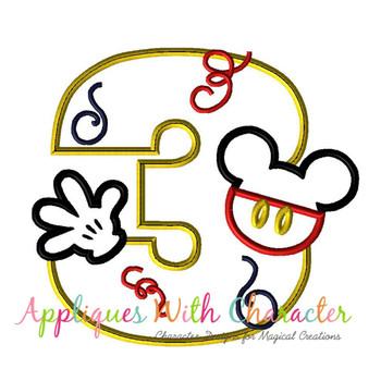 Mr Mouse Three Applique Design
