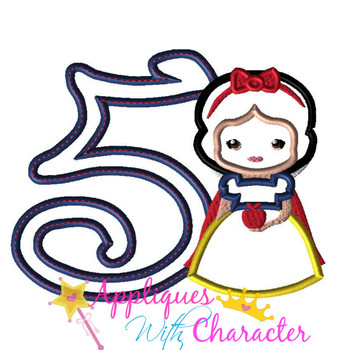 Snow Girl Cutie Five Applique Design