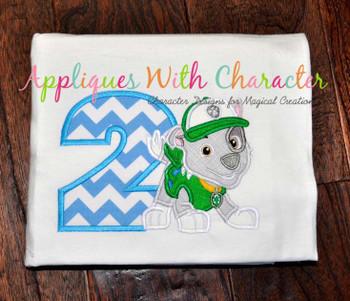 Pup Patrol Rockie Two  Applique Design
