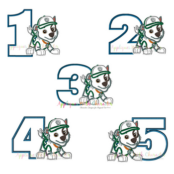 Pup Patrol Rockie One Two Three Four Five Set  Applique Design