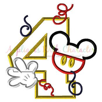 Mr Mouse Four Applique Design