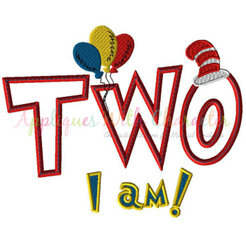 Seuss Two I am Applique Design