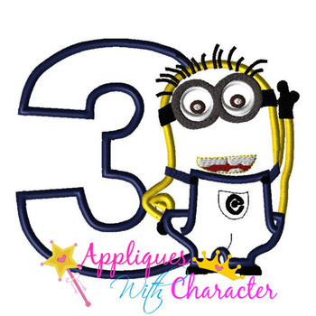 Minion Three Applique Design