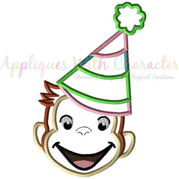 Curious Monkey Party Girl Applique Design