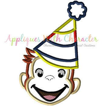 Curious Monkey Party Boy Applique Design