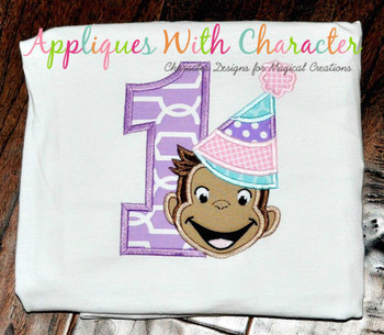 Curious Monkey One Girl Applique Design