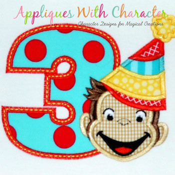 Curious Monkey Three Boy Applique Design