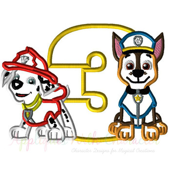 Pup Patrol Marshill Chasie Three Applique Design