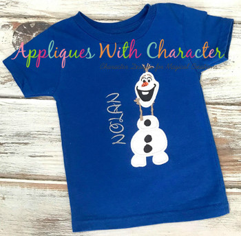 Frozen Olaf Snowman Holding Head Applique Design