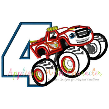 Blaze Monster Truck Four Applique Design