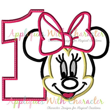 Miss Mouse Number One Applique Design