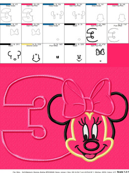 Minny Mouse Three Applique Design