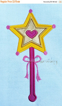 Pink Girl Inspired Princess Wand Applique
