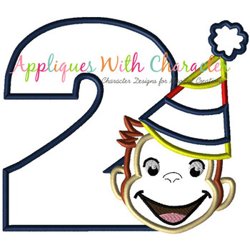 Curious Monkey Two Boy Applique Design