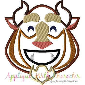 Beauty Beast Emoji Applique Design