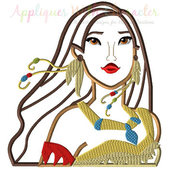 Indian Girl Bust Applique Design