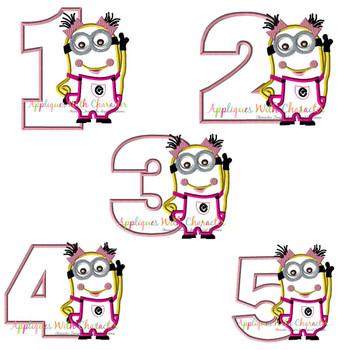 Minione Girl Number Applique Design Set