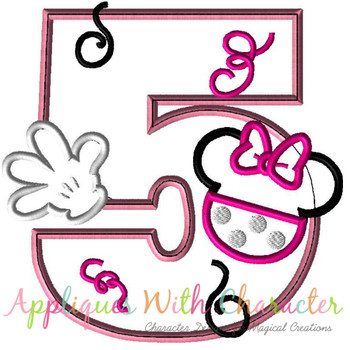 Miss Mouse Five Applique Design
