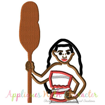 Island Girl With Paddle Applique Design