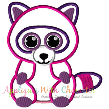 Beanie Raccoon Applique Design