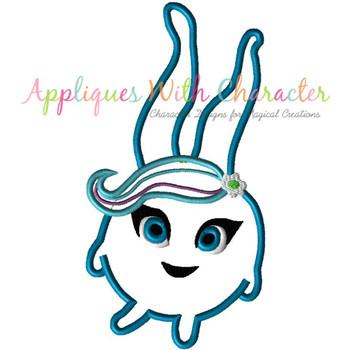 Sun Bunny Blue Applique Design