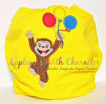 Curious Monkey Balloons Applique Design